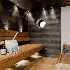 Family sauna with pillar design Harvia Kivi heater Sauna Lights, Modern Saunas, Sauna House, Sauna Design, Outdoor Sauna, Finnish Sauna, Log Home Living, Steam Sauna, Spa Rooms