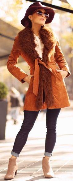 Frassy Orange Burnt Suede Sheepskin Coat Fall Street Style Inspo #Fashionistas