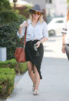 Sarong Chic: Hilary Duff's Denim Shirt and Wrapped Midi Skirt Look for Less