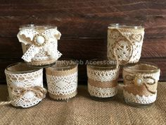 6 rustic naturlap burlap and lace covered votive tea candles, wedding favor or table decoration  Votive Holders Made of Glass Size: 2 diameter x 2.5""