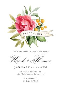 Bouquet Ribbon - Rehearsal Dinner Party Invitation #invitations #printable #diy #template #Rehearsaldinner #wedding Dinner Party Invitations, Bridal Shower Invitations, Bridal Shower Bouquet, Housewarming Invitation Templates, Ribbon Bouquet, Rehearsal Dinners, House Warming, Printable, Island