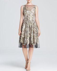 Vera Wang Dress - Sleeveless Metallic Lace Fit and Flare