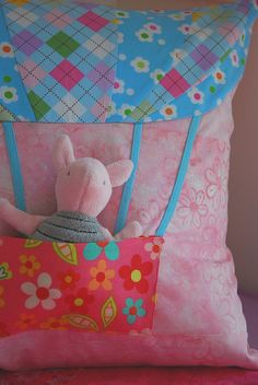 I so need to retire so I'll have time to sew all this cute stuff!   Hot Air Balloon Pocket Pillow - PDF Pattern and Tutorial on the blog!
