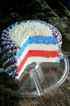 Easy Fourth of July Cake (although I think I would do just red and blue cake layers w/ white frosting in between layers and on top/sides of cake...maybe some sprinkles on top) :)
