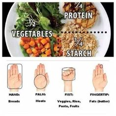 Here's a great visual of portion sizes! This should be followed with each of your 5-6 meals a day. Did you know you can even over eat HEALTHY food? Yep! So stick to your portion sizes smile emoticon   And always pair a complex carb with a lean protein at every meal. It keeps your metabolism going throughout the day so you have more energy!