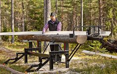 That dream of building your little cabin in the woods will be a lot easier when you're milling the lumber right there on site using the trees growing on the lot. The Logosol M8 is a portable sawmill system that uses a chainsaw to accurately square logs for making beams and boards up to 17 feet long.