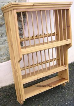 Pine Storage Solutions : Hand Made Pine Plateracks : Double Plate Rack with Shelf