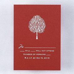 Carving - Respond Card and Envelope - Claret Shimmer