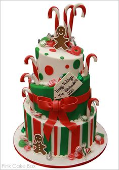 half baked - pink cake box - christmas - christmas cake - gingerbread man & candy canes cake