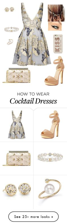 """No More Sad Songs"" by sugar-addicted95 on Polyvore featuring Notte by Marchesa, Christian Louboutin, Oscar de la Renta, Blue Nile, Emily Rose Flower Crowns, Kate Spade and Zoë Chicco"