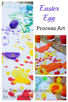 Easter Egg Process Art. A Super Fun Way to Encourage Art and Creativity with Simple Materials. Perfect for Preschoolers at home or school! - Pre-K Pages