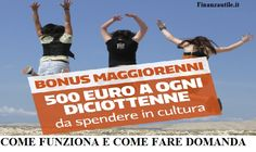 Seicentomila #giovani che diventeranno maggiorenni nel 2016 potranno usufruire del #bonus diciottenni istituito dal #Governo #Renzi.  Ecco come funziona e come fare domanda    #bonusmaggiorenni #bonusdiciottenni #soldi #finanzautile #bonuscultura