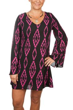 Pink tribal print dress perfect for beast cancer awareness month!  Shop in the store or at mjadedboutique.com