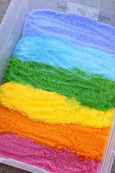 Rainbow Epsom salt sensory bin - how to dye Epsom salts. Great hands on activity for preschooler play Sensory Tubs, Sensory Boxes, Sensory Play, Baby Sensory, Sensory Activities For Preschoolers, Learning Activities, Preschool Activities, Counseling Activities, Spring Activities