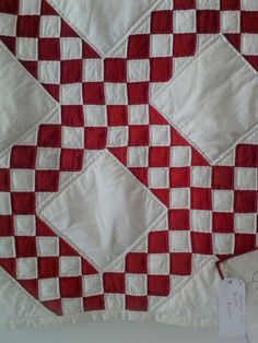 Double Irish chain, hand pieced, hand quilted. From Louisiana.