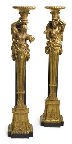 figures and groups A pair of carved giltwood and faux marble-painted torchères incorporating century elements Sotheby's Antique Chandelier, Antique Lighting, Chandelier Lighting, Stairs Balusters, Marble Painting, Vintage Candle Holders, Candle Stand, Iron Decor, Objet D'art