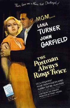 High quality reproduction movie poster for The Postman Always Rings Twice starring Lana Turner, John Garfield and Cecil Kellaway from 1946. 11 x 17 high quality reproduction on card stock.
