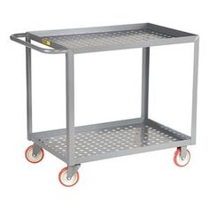 """Shelf Truck, 36x24, Gray, Perforated Deck by Little Giant. $333.98. Perforated Deck CartsNos. 19C185 and 19C186 have 9"""" pneumatic casters (2 rigid, 2 swivel). 19C831 and 19C832 have 5"""" polyurethane casters (2 rigid, 2 swivel w/brake).12-ga. steel shelvesShelf Truck, Lip Up Shelves, Load Capacity 1200 lb., Welded Steel Construction, Gauge Thickness 12, Powder Coat Finish, Color Gray, Overall Length 42 In., Overall Width 24 In., Overall Height 35 In., Number of Shelves..."""