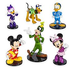 Mickey and the Roadster Racers Figure Play Set | Disney Store Suit up with the Sensational Six and get ready to roll! Take your figurings on an adventure through Hot Dog Hills and beyond. The whole crew is on the road, so grab Donald, Daisy, Goofy, Mickey, Minnie and Pluto for an unforgettable ride.