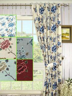 Halo Embroidered Concealed Tab Top  Silk Curtains. Butterfly and flower, embroider out the beautiful picture,an elegant look for your window.