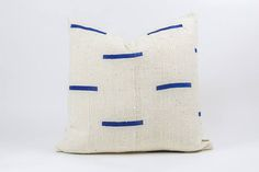 Authentic White African Mud Cloth Pillow w/ Blue Tribal