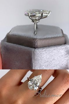Design your perfect pear shaped diamond engagement ring with Adiamor.com! Select an all natural GIA certified diamond from our list. Select a thin band platinum basket solitaire. We hand make your ring and ship it to your doorstep. This 6 carat stunner was hard to say goodbye to. #pearshapeddiamond #engagementring #solitaireengagementring #bigdiamond Pear Shaped Engagement Rings, Dream Engagement Rings, Pear Ring, Gia Certified Diamonds, Pear Shaped Diamond, House Projects, Jewelry Accessories, Basket, Ship