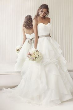 Elegantly Crafted Ruffled Essense of Australia Strapless Wedding Dresses with Ribbon