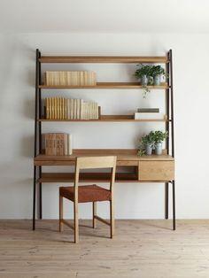 DESK with Shelves / openhouse-magazine-this-is-what-i-can-design-furniture-hiromatsu-shop-japan 4 Desk Shelves, Shelving, Bookcase Desk, Scandinavian Desk, Mid Century Modern Bookcase, Bookcase Styling, Best Desk, Deco Design, Minimalist Apartment