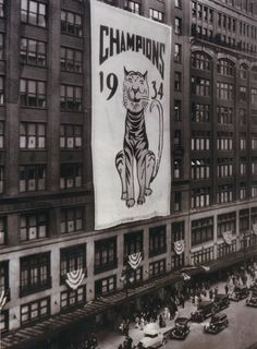 Hudson's in 1934 with a banner celebrating the Detroit Tigers' World Series appearance that season.