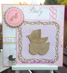 "Baby greeting card - barn stamp ""Bundle of Joy"" Kaisercraft; Designerpaper ""Vintage Baby"" Maja Design; Sentiment Whiff of Joy; Dies Spellbinders ""Label One""; ""Classic Circles""; ""Scalloped Circles""; Heart die ""Extra Hearts"" Marianne Design"