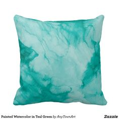 Painted Watercolor in Teal Green Throw Pillows