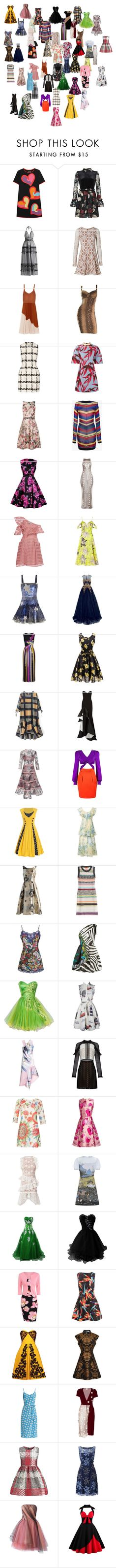 """Dresses 7"" by mysfytdesigns ❤ liked on Polyvore featuring Boutique Moschino, Ganni, For Love & Lemons, Jason Wu, Alexander McQueen, Marni, Ted Baker, Balmain, self-portrait and Topshop"