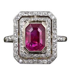 French 2.20 Carat Burmese 'No Heat' Ruby and Diamond Ring | From a unique collection of vintage cocktail rings at http://www.1stdibs.com/jewelry/rings/cocktail-rings/
