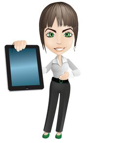 Free 3D Girl Showing Tablet