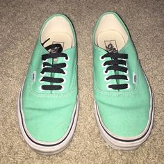 teal vans, practically new!!!! teal vans, practically new! only wore about 4-5 times. in very good condition with a little dirt on the white sides, but nothing a magic eraser couldn't take off! feel free to offer. Vans Shoes