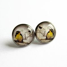 Beautiful little earrings featuring an illustration of a bright yellow bird sitting on a branch set beneath a layer of shiny, hand poured resin. Available as either drops or studs - the choice is yours!  Perfect for sensitive ears, the earrings are made of stainless/surgical steel so theyre hypoallergenic and suitable for anyone with a nickel allergy. It is also super strong and wont tarnish.  DETAILS AND MEASUREMENTS:  ♥️ Surgical steel earrings. ♥️ Stud earrings measure just over 1 Surgical Steel Earrings, Bird Earrings, Sensitive Ears, Bright Yellow, Zebras, Annie, Giraffe, Studs, Resin