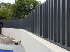 Bespoke pool fence at Donvale project. Concrete Fence Wall, Patio Fence, Concrete Steps, Brick Fence, Pool Fence, Backyard Fences, Front Gate Design, House Gate Design, Gate House