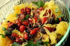 Spaghetti Squash:: ANY- olives, capers, leeks, caulif, pine nuts or walnuts, pesto, garlic, basil, fresh oregano, marjoram, spinach, mushrooms, white wine, cranberries