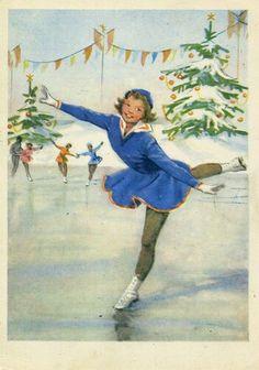 Russian vintage New Year's postcard 1956 / B. Winter Images, Winter Pictures, Christmas Pictures, Christmas Scenes, Christmas Art, Skating Pictures, New Year Postcard, Creation Photo, Vintage Christmas Images