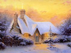 Christmas Tree Cottage. Thomas Kinkade.