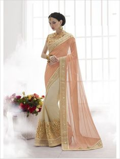 Peach/Beige Party Wear Chiffon/Net Saree