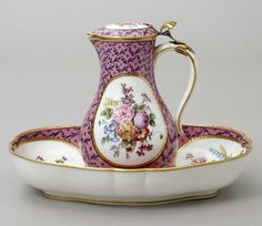 Sevres Rose Marbre Ewer and Basin with Ormolu Handle.