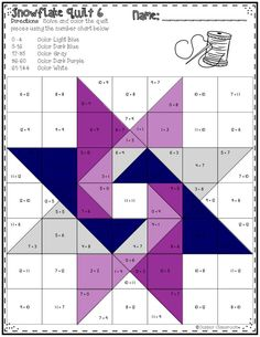 Star quilt patterns - No Prep Snowflake Quilts Color by Code for Multiplication Facts up to 12 x 12 This set of printables includes 10 math quilts with a snowflake theme These no prep color by code worksheets focus on multiplication facts up to 12 x 12 T Barn Quilt Designs, Barn Quilt Patterns, Pattern Blocks, Quilting Designs, Free Quilt Block Patterns, Pattern Fabric, Free Pattern, Star Quilt Blocks, Star Quilts