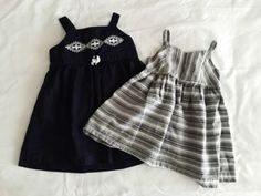 OLD NAVY CARTERS Girls 12 - 18 Month Dress Lot Gray White Striped Navy White