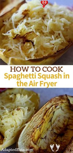 How to cook spaghetti squash in the air fryer is a must try! This is by far the best way to cook your spaghetti squash in half the time of an oven!<br> Air Fryer Recipes Appetizers, Air Fryer Recipes Vegetarian, Air Fryer Recipes Vegetables, Air Fryer Recipes Snacks, Air Fryer Recipes Low Carb, Air Frier Recipes, Air Fryer Recipes Breakfast, Air Fryer Dinner Recipes, Low Carb Recipes