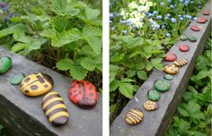pebble bugs - acrylic paint and varnish Forest School Activities, Nature Activities, Craft Activities, Toddler Activities, Outdoor Activities, Preschool Ideas, Outdoor Education, Outdoor Learning, Early Education