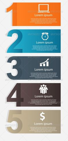 Infographics Design Elements Vector Illustration - Cool idea for a by-the-numbers or top five list.