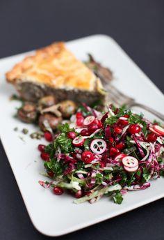 christmas salad w/ clementine-coriander vinaigrette (kale, radicchio, cranberries)