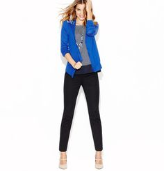 LOFT STYLE Ohhh Blue blazer/cardigan over black ponte pants how I love thee