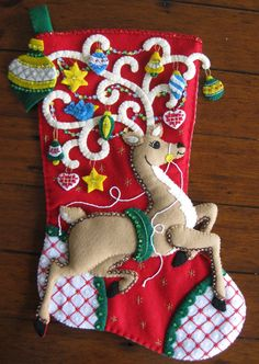 Bucilla Ornamental Deer 18 Completed by MissingSockStitchery Cute Christmas Stockings, Christmas Moose, Felt Crafts, Christmas Crafts, Christmas Ornaments, Felt Stocking, Indoor Christmas Decorations, Fabric Ornaments, Felt Patterns